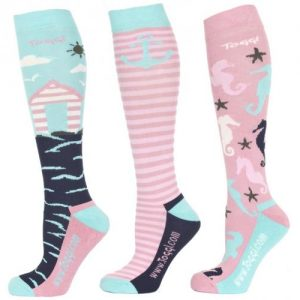 Toggi Tiegs Ladies Three Pack Socks- Turquoise