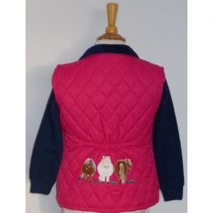 British Country Collection Quilted Gilet Fat Ponies – Fuchsia