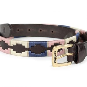 Shires Aubrion Drover Polo Belt- Natural/Pink/Navy