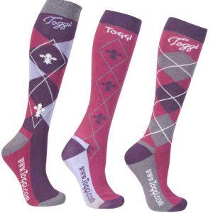 Toggi Chestermere Ladies Three Pack Socks -Deep Pink
