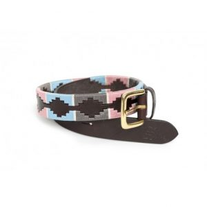 Shires Drover Skinny Polo Belt – Pink/Grey/Light Blue