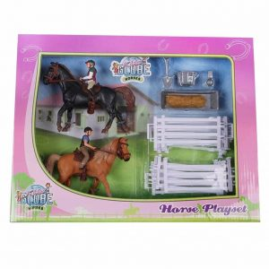 Kids Globe Horse Play Set with 2 Horses and 2 Riders with Accessories