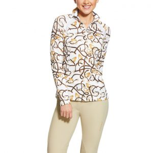 Ariat Ladies Sunstopper 2.0 1/4 Zip Baselayer – Bridle Print