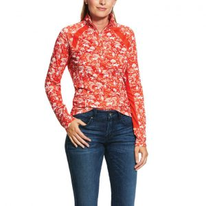 Ariat Ladies Sunstopper 2.0 1/4 Zip Baselayer – Red Clay Toile