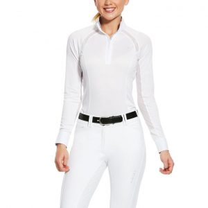 Ladies Ariat Sunstopper Pro 2.0 Quarter Zip Show Shirt – White