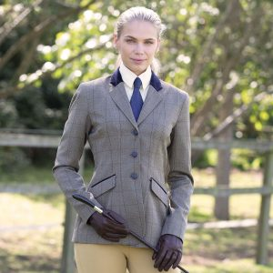 Ladies Equetech Foxbury Deluxe Tweed Riding Jacket With Velvet Collar