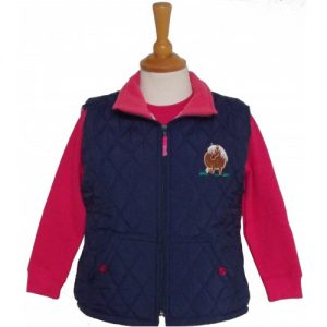 British Country Collection Quilted Gilet Fat Ponies – Navy