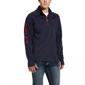Ariat Mens Tek Team 1/2 Zip Sweatshirt – Navy/Heather