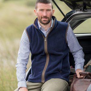 Hoggs Of Fife Men's Stenton Technical Fleece Gilet – Navy
