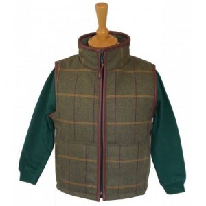 British Country Collection Childrens Tweed Gilet With Trim