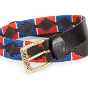 Shires Drover Skinny Polo Belt – Blue/Red