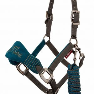 LeMieux Vogue Fleece Headcollar & Leadrope – Peacock/Grey
