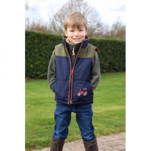 British Country Collection – Boys Tweed Gilet with Tractors