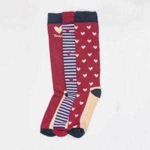 Toggi Socks – Ladies – 3 Pack – Heart/Stripe