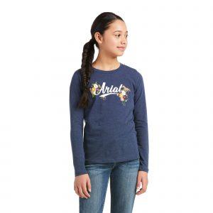 Ariat Kids Flora Fauna Logo T-Shirt – Navy Heather