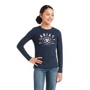 Ariat Kids International Logo T-Shirt – Navy