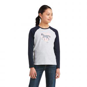Ariat Kids Heart of my Heart T-Shirt – Heather Grey/Navy