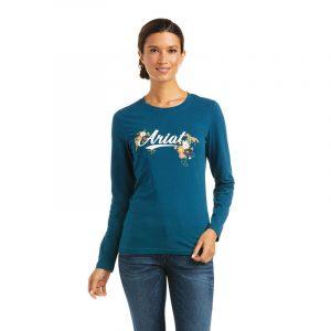 Ariat Ladies Flora Fauna Logo T-Shirt – Eurasian Teal
