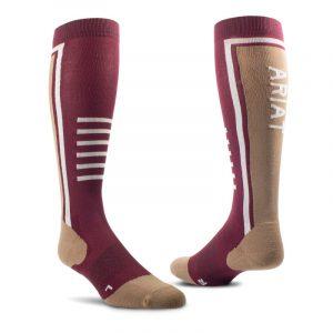 AriatTEK Ladies Slimline Performance Socks – Windsor Wine/Wood Smoke