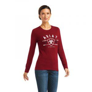 Ariat Ladies International Logo T-Shirt – Rhubarb