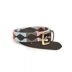 Shires Drover Polo Belt – Pink/Grey/Light Blue