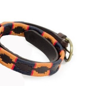 Shires Drover Skinny Polo Belt – Navy/Orange