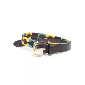 Shires Drover Skinny Polo Belt – Yellow/Green/Purple